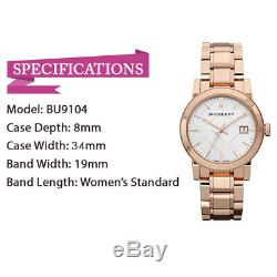 100% New Burberry BU9104 Heritage Rose Gold-Plated Stainless Steel Women's Watch