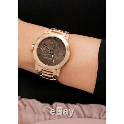 100% New Burberry BU9353 Taupe Chronograph Dial Rose Gold Plated Unisex Watch