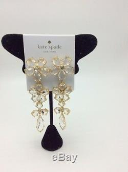 $128 Kate Spade in full bloom 14K gold plated flower drop earrings SP 103B