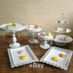 12PC/Set Crystal White Metal Cake Holder Wedding Dessert Stand Cupcake Plate