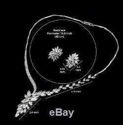 14k Platinum Plated Necklace Earrings Set made with Swarovski Crystal Bridal Jewel