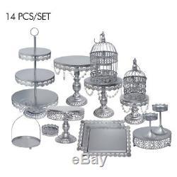 14pcs Crystal Silver Metal Cake Holder Party Cupcake Stand Wedding Plates Set US