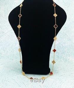 18K Gold Plated Cornelian Clover Crystal Necklace 20 Motifs