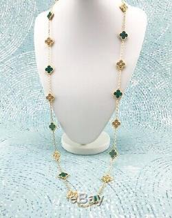 18K Gold Plated Green Artificial Malachite Clover Crystal Necklace 20 Motifs