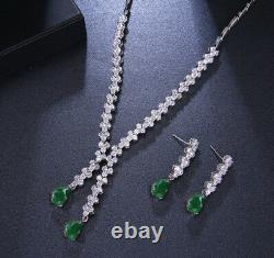 18K Platinum Plated Necklace Earrings Set made w Swarovski Crystal Green Emerald