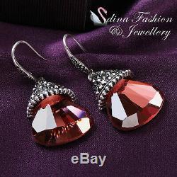 18K White Gold Plated Glass Crystal Large Garnet Red Fan Dangle Earrings