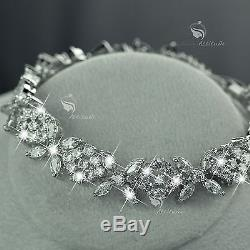 18k white gold plated crystal stud earrings necklace bracelet party wedding set