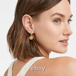 24K Gold Plate Fleur-de- Iridescent Crystal Hoop & Charm Earring
