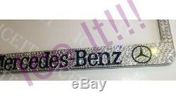 2X Bling Mercedes Benz StainlessSteel license plate frame madeSwarovski Crystals