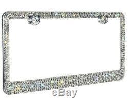 2 LUXURY Made with SWAROVSKI CRYSTAL Metal License Plate Frame Cap Diamond Bling
