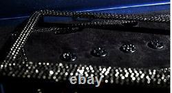 2 LUX BLACK Diamond CRYSTAL Metal License Plate Frame Caps Made with Swarovski