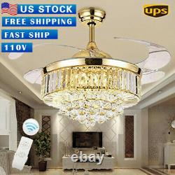 42 Rose Gold LED Invisable Ceiling Fan Lamp Crystal Lighting Remote Chandeliers
