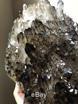 7Lb Fine Smoky Quartz Cluster Elestial Quartz Crystal Brazil Morion Quartz Plate