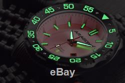 ARAGON 44mm Sea Charger Black Ion Plated Automatic NH35 PINK Watch Limited Ed