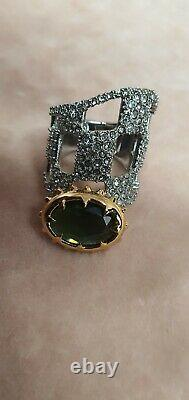 Alexis Bittar Platinum & Gold Plated Crystal Jewelled Ring Size 7 /N