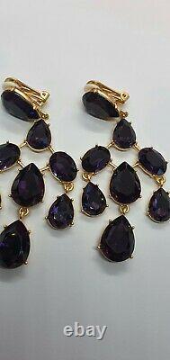 Authentic Oscar De La Renta Gold Plated Large Purple Crystal Chandalier Tier