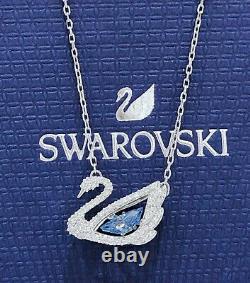 Authentic SWAROVSKI Sparkle Blue Crystal Dancing Swan Pendant Necklace 5533397