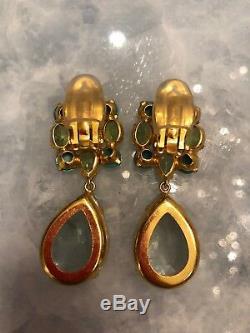 BOUNKIT Gold Plated Peridot, Turquoise, Quartz & Lemon Quartz Clip on Earrings