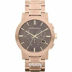 BURBERRY BU9353 Taupe Chronograph Dial Rose Gold Plated Steel Men's Watch