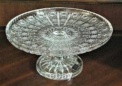 Bohemia Czech Vintage Crystal Pedestal Plate, 11 Wide, hand cut, Queen Lace
