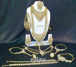 Bollywood Ethnic Wedding Fashion Indian Bridal Gold Plated 13 PCS Jewelry Set