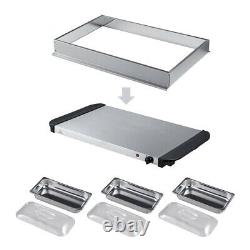 Buffet Server Adjustable Temperature 200w Hot Plate Tray S/s Steel Food Warmer