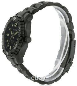 Bulova Sea King Marine Star Black Ion Plated Stainless Steel Watch Men's 98B242