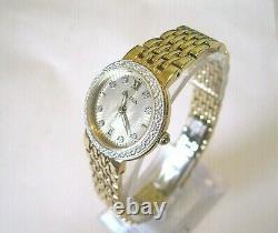 Bulova Women's Gold Plated Sunburst Dial Diamond Accent Watch 98R212 NEW