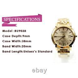 Burberry BU9038 Swiss Gold Ion-Plated Champagne Bracelet Quartz Unisex Watch
