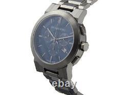 Burberry BU9365 Chronograph Blue Dial Dark Grey Ion-plated Men's Wrist Watch