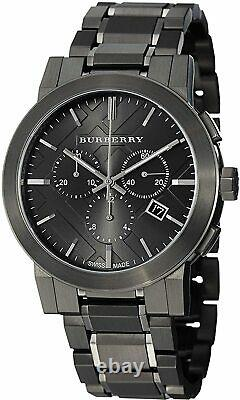 Burberry Chronograph Dark Grey Dial Black Ion-plated Steel Men's Watch BU9354