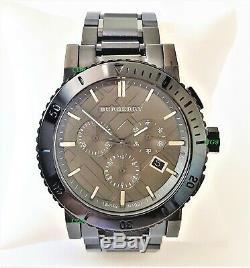 Burberry Watch Mens Gunmetal Dial Grey Ion Plated Grey Band BU9381 Genuine VIP