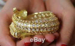 CZ Kenneth Jay Lane Alligator Bracelet gold plated Swarovski Crystal STUNNING