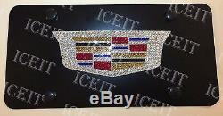 Cadillac Escalade Black Front license plate HeavyDuty Madewith Swarovski Crystal