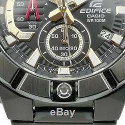 Casio Edifice Quartz Black Dial IP Plated Bracelet Chrono Mens Watch RRP £350