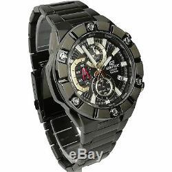 Casio Edifice Quartz Black Dial IP Plated Steel Oyster Bracelet Chrono Men Watch