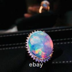 Certified Natural Fire Opal Gemstone 925 Silver Sterling Plated Rose Gold Ring