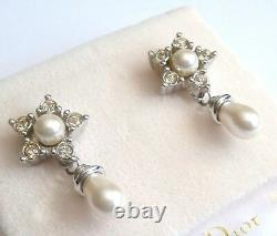Christian Dior Rhodium Plated Pearl & Crystal Earrings 14kt Posts