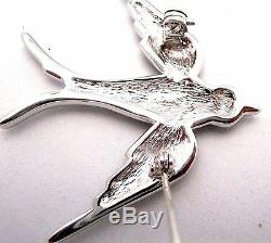 Christian Dior Signed Bird Pin Brooch Rhodium Plated with Crystals