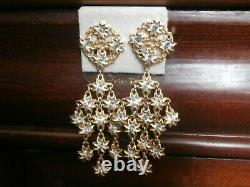 Christian Dior Signed Clip-On Chandelier Earrings Gold Plated Stars with Crystal