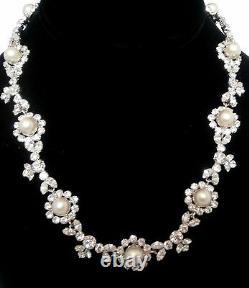 Christian Dior Signed Rhodium Plated Necklace set with Diamante & Pearls