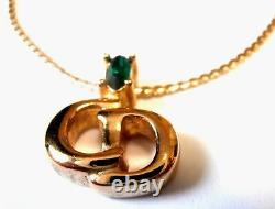 Christian Dior Signed Symbol Necklace Gold Plated with Emerald Crystal CD Pendan
