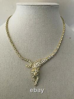 Cote d Argent 925 Jaguar Panther Necklace CZ Pave Crystal Yellow Gold Plated