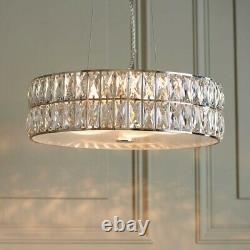 Crystal Chandelier LED Round Pendant Chrome Plate Finish Light Diameter 38cm