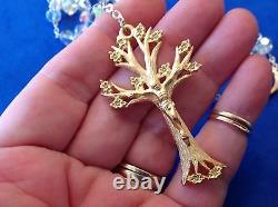 Custom SWAROVSKI Crystal Rosary Gold Plated Dogwood Tree Handmade 8mm