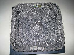 Czech Bohemia Queen Lace Crystal Square Plate 11 Nib