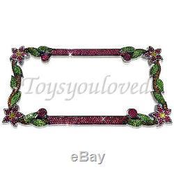 DAISY FLOWER PINK Crystal Bling License Plate Chrome Frame Austrian Rhinestones