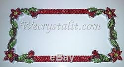 DAISY FLOWER RED Crystal Bling License Plate Chrome Frame Austrian Rhinestones