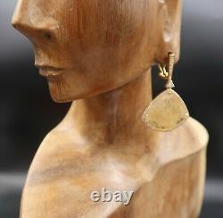 Dallas Prince Rutilated Quartz and Zircon Gold Plated Drop Earrings
