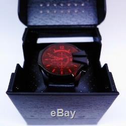 Diesel men's watch DZ4460 Mega Chief Black Ion Plated Steel Red Crystal Lens